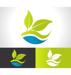 Green eco leaf icon vector