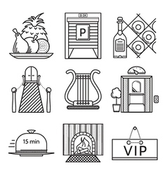 Black line icons for restaurant vector