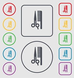 Hair icon sign symbol on the round and square vector