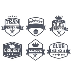 Set of vintage cricket club badge and label vector