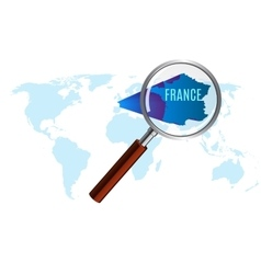 World map with france magnified by loupe vector