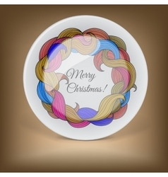 Decorative plate with christmas wreath vector