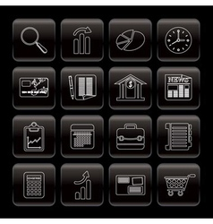 Line business and office internet icons vector