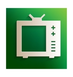 Tv icon with paper effect vector