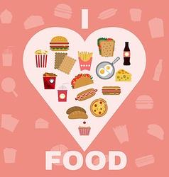 Fast food and snacks big icons set vector