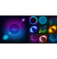 Huge set of glowing rounds with glitter abstract vector