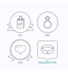 Love heart gift bag and wedding ring icons vector
