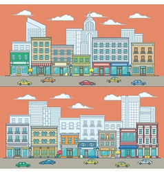 Line flat design of shopping street include store vector