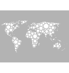 World map mosaic of white dots vector