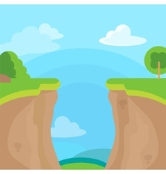 Abyss or cliff concept with trees sky and clouds vector