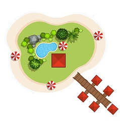 Aerial scene with swimming pool and bridge vector image vector image
