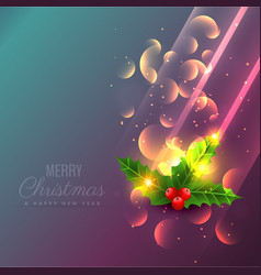 Amazing shiny christmas leafs background design vector