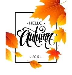 Autumn calligraphy background of fall leaves vector
