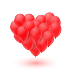 Ballons in form of heart isolated on white vector