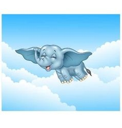 Cute baby elephant flying on cloud background vector
