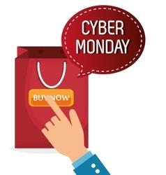 Cyber monday shop bag vector