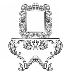 Exquisite rich rococo furniture set vector