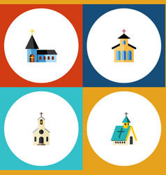 Flat icon christian set of architecture catholic vector