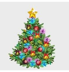 Green Christmas tree with star ball and garland vector image vector image