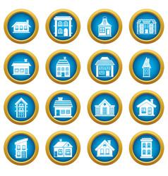 house icons blue circle set vector image