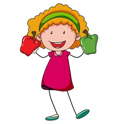 Little girl holding two capsicums vector image vector image