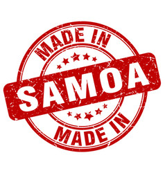 Made in samoa red grunge round stamp vector