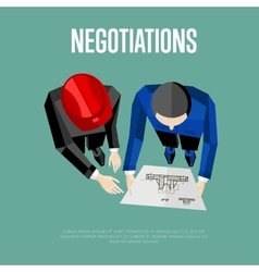 Negotiation banner top view of engineer builders vector
