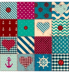Patchwork in nautical style vector image vector image