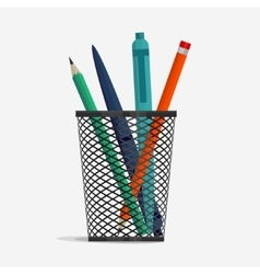 Pen and pencil in holder basket vector image vector image