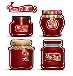 Pomegranate jam in jars vector