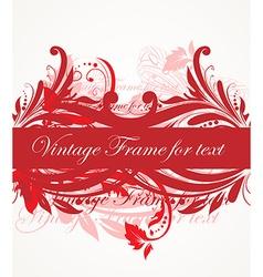 Red vintage floral banner vector