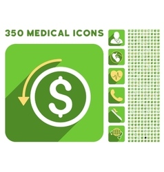 Refund icon and medical longshadow icon set vector