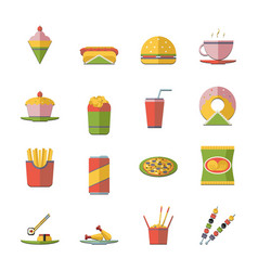 Retro flat fast food icons and symbols set vector
