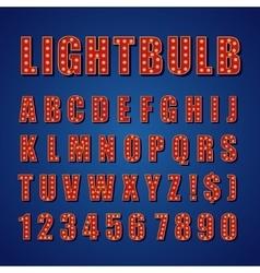 Retro Lightbulb Alphabet Font Type letters vector image vector image