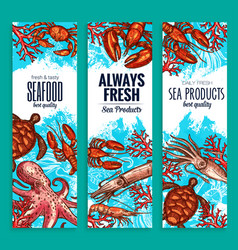 seafood restaurant sea food banners set vector image vector image