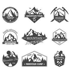 Set of isolated rocky mountain peaks or hills vector