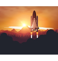 Space shuttle with sunset background vector