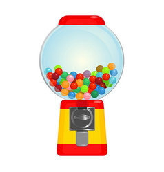 Sphere gumball machine container with sweet vector