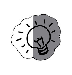 sticker sketch silhouette light bulb idea icon vector image vector image