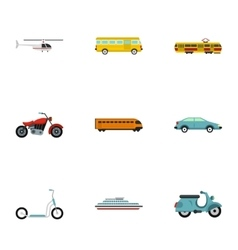 Vehicles icons set flat style vector image