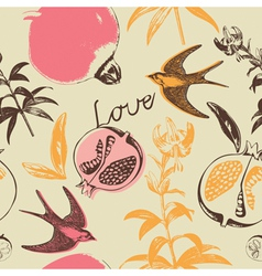Vintage Love Swallow Birds Pattern vector image vector image