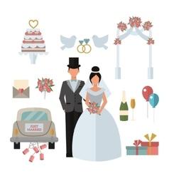 Wedding symbols bride bridegroom married couple vector image