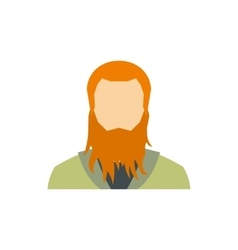 Red bearded man icon flat style vector
