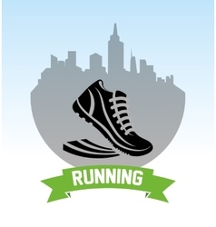 Shoes running city design vector