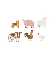 Different farm animals icons set vector