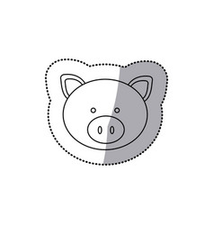 Sticker monochrome contour with male pig head vector