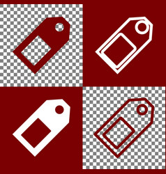 Price tag sign  bordo and white icons and vector
