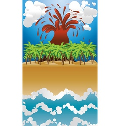 Volcano island2 vector