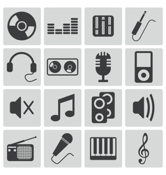 Black music icons set vector