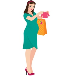 Pregnant woman shopper vector image